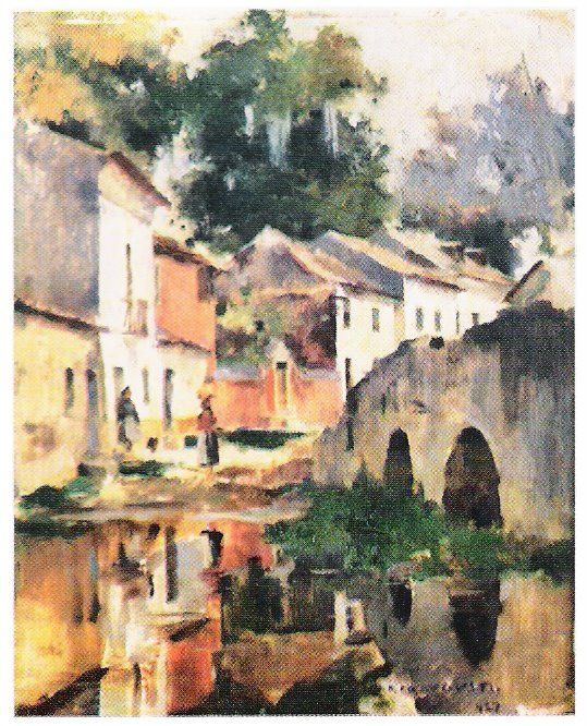 1927  Óleo sobre madeira (27,4 x 22,2 cm)  Esta obra é também conhecida por Espelho de água .