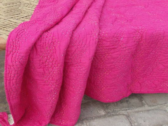 Bright pink quilted bedspread, chevron pattern, zig zag quilting, cotton kantha quilt, 100% cotton, 60X90 inches