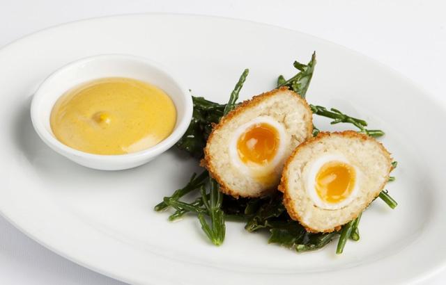 Smoked cod Scotch eggs with aioli by chef Richard Corrigan.
