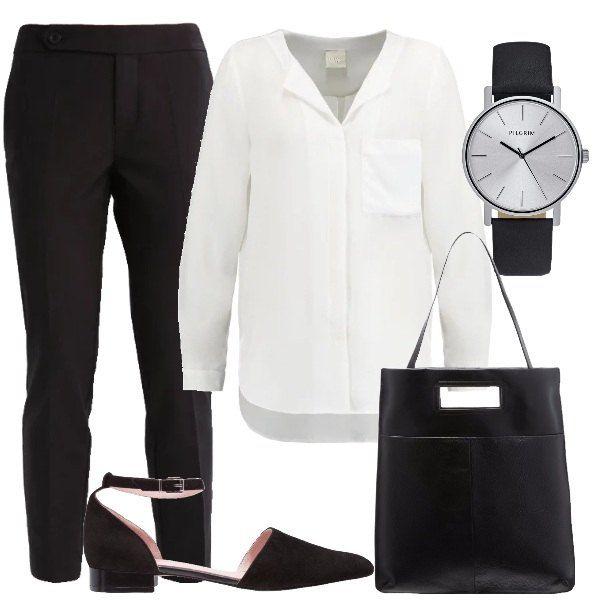 Per le donne che amano lo stile minimal scelgo pantaloni neri con tasche laterali abbinati a camicetta bianca a manica lunga con scollo con bottoncini. Le ballerine con cinturino sono in effetto scamosciato e a punta molto semplici, così come la borsa porta pc dalla linea essenziale. Includo l'orologio analogico con cinturino in pelle.