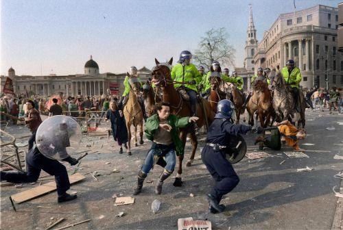 Scene from the Poll Tax Riots in Trafalgar Square, London, 1990.