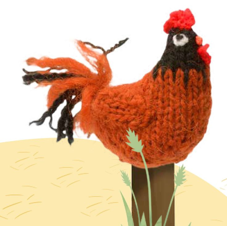 """Rooster Free Knitting Pattern (Extract from """"Farmyard Knits"""" by Fiona Goble)"""