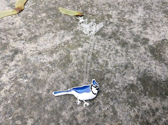 "Blue Jay Necklace. This hand-fabricated silver pendant is 1.5"" tall on an 22"" Rolo chain and hand-painted with enamel."