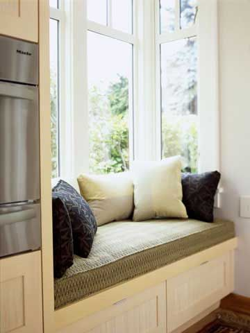 Why not add a cozy window seat to your kitchen area, too?
