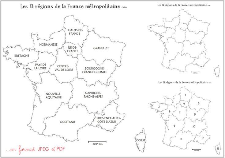 Cartes des régions de la France métropolitaine - 2016   Carte des régions, Géographie ce2 et ...