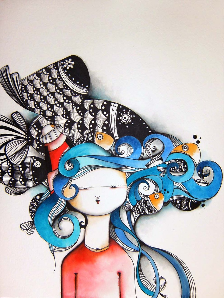 "ILustración ""Los peces Negros"" Ecolines y Tinta sobre papel 21cmx29cmwww.caperucitazul.com https://www.facebook.com/Caperucitazul http://www.margaritarosaespinosa.blogspot.com.es/"