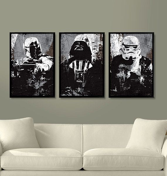"Mr. Man would LOVE this. Star Wars All Black Darth Vader, Stormtrooper and Boba Fett Poster Set 11""X17"""