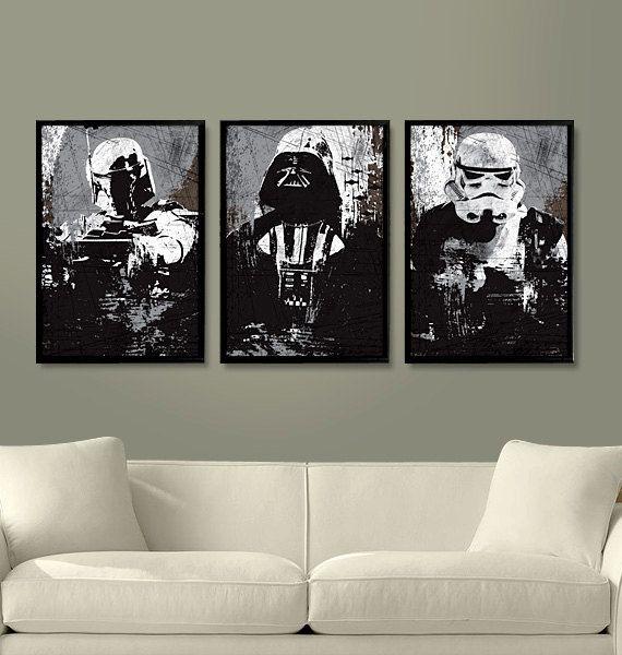 Star Wars All Black Darth Vader Stormtrooper and par Posterinspired