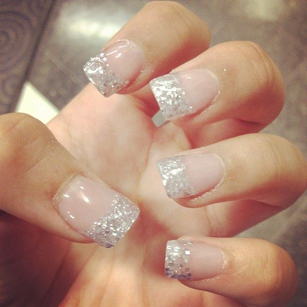 glitter french tip | Nailed It! | Pinterest