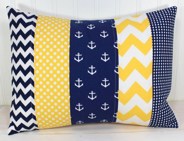 Nursery Pillow Cover - Yellow Navy Blue Chevron Anchors - Boy Nursery Decor - Nautical - 12 x 16 Inches. $22.50, via Etsy.