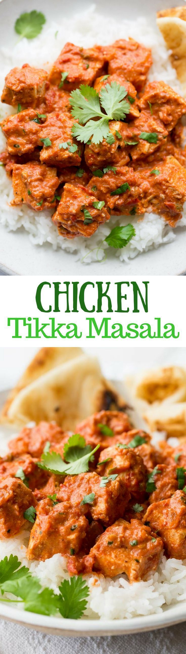Chicken Tikka Masala ~ an incredibly popular dish made with tender chunks of yogurt marinated chicken, folded into a richly spiced tomato sauce with just a hint of heat from the cayenne. www.savingdessert.com