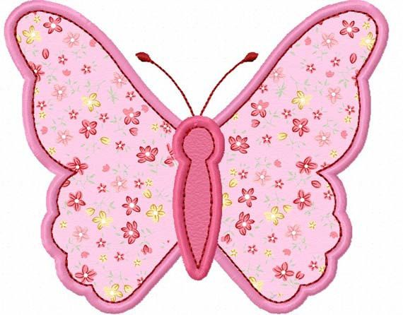 Pink Butterfly  Applique Machine Embroidery Design