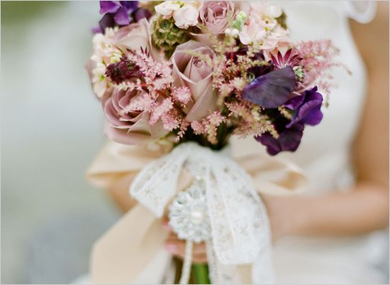 Vintage/purple bouquet: Amnesia Roses, Stock, Sweet Peas, Scabiosa Pods, Astilbe and Astrantia