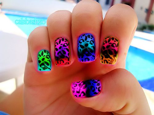Colorful Leopard Ombre Dip Dye Nail Polish