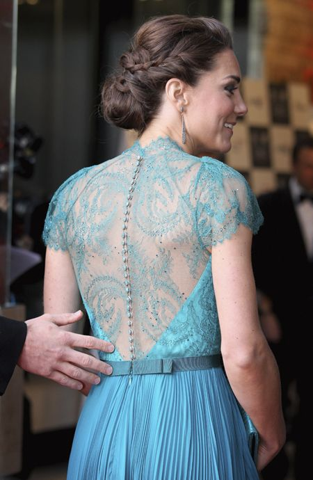 hair (and dress. can i wear blue?... would be worth it for this dress)Duchess Of Cambridge, The Duchess, Katemiddleton, Kate Middleton, Lace Back, The Dresses, Hair, Princesses Kate, Jenny Packham