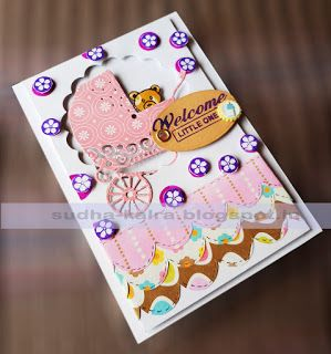 Welcome Little One..  For more details,check here- http://sudha-kalra.blogspot.in/2017/08/welcome-little-one-handmade-baby-card.html
