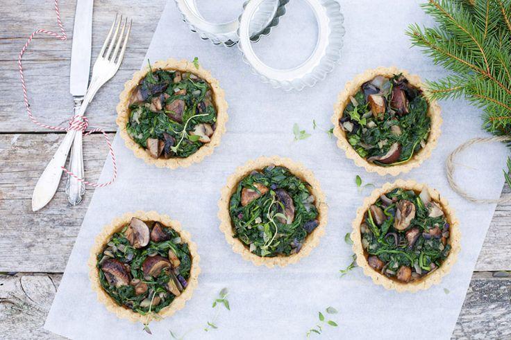 Spiced spinach and mushroom tartlets