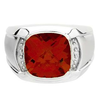 Big Men's Diamond Cushion Cut Ruby Sterling Silver Ring Available Exclusively at Gemologica.com