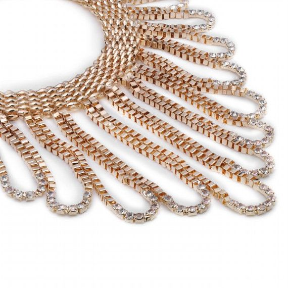 FJ Fashion Gold Chain White Crystal Choker Bib by Glamorosajewelry