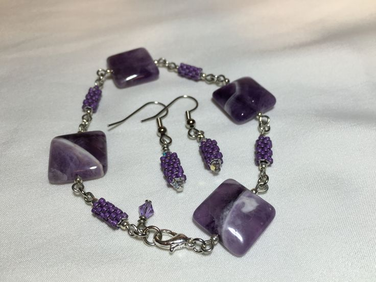 Amethyst Stone & Purple Peyote links. On sale for $40 for the set.  manoncreativemoments@gmail.com