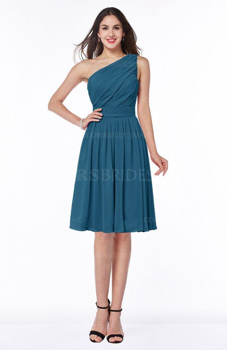 Moroccan Blue Elegant Asymmetric Neckline Zipper Chiffon Knee Length Plus Size Bridesmaid Dresses (Style D55648)