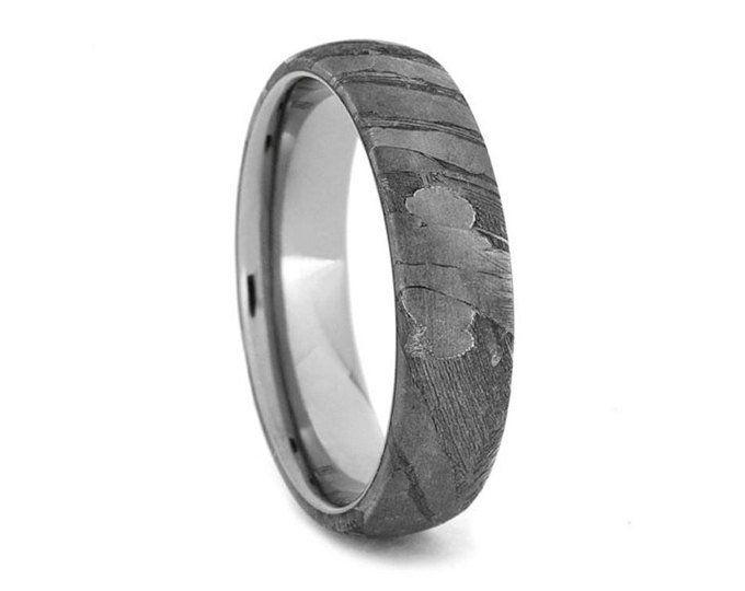 Simple Meteorite Ring In Titanium In 2019 Meteorite Wedding Band Titanium Wedding Rings Titanium Rings