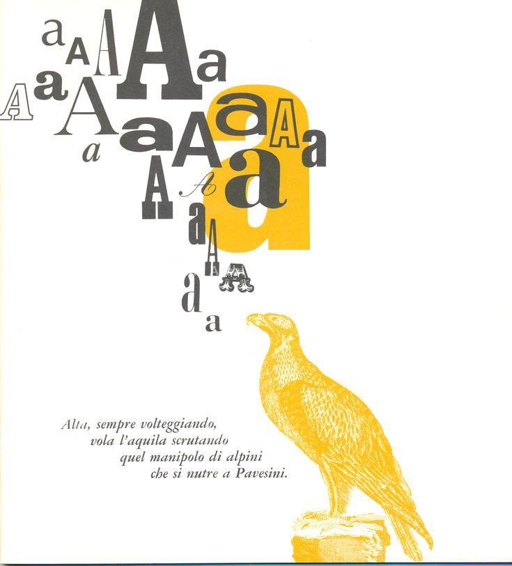 Filastrocche ispirate ai Pavesini con le varie lettere dell'Alfabeto, impaginate con rigore grafico da Erberto Carboni nel 1968: lettera A
