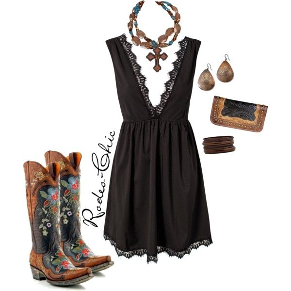 We've Got Tonight by rodeo-chic on Polyvore, Old Gringo Cowboy Boots @oldgringoboots; Wallet @pintoranch; Necklace @rodswestern; little black dress, embroidered stitched boots, western, country, concert outfit