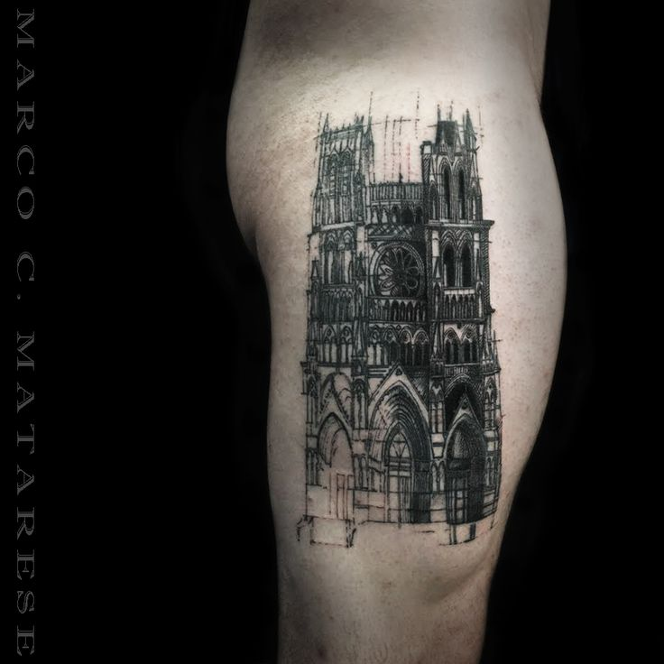 Cathedral ink tattoo for men leg Marco C. Matarese