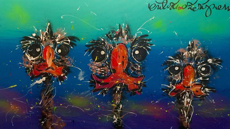 """""""One, two, three!""""  Wat een lekker stel! En dat maar liefst van 80 x 100 cm. Vanaf morgen in Galerie Erik Zwezerijnen Folkingestraat!"""