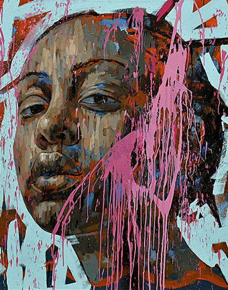 Lionel Smit (South African, b. 1982), acrylic on canvas {contemporary figurative #expressionist art female head black woman face portrait grunge painting drips #loveart} lionelsmit.co.za
