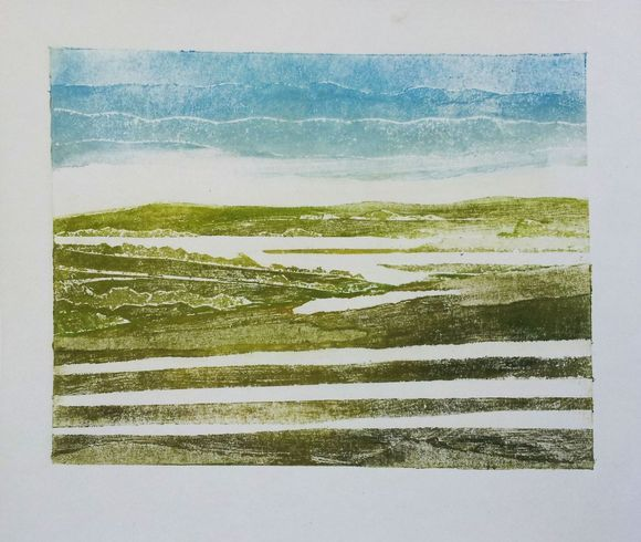 Quantocks  View of Taunton from the Quantocks.  #painting #printing #printmaking #collagraphic #landscape #quantocks #somerset #print #waterbased #cartridge #view #blue #yellow #green #brown #mountains #collagraphy #collagraph #coleridge #sublime #lyrical #romanticism #otherworld #adamgrose
