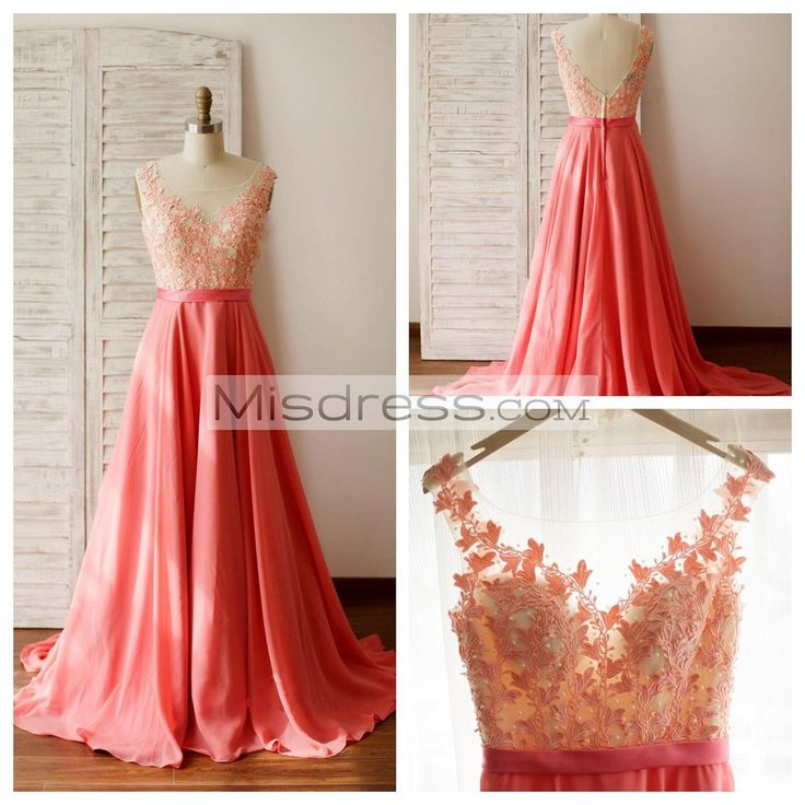 A Line Coral Chiffon Lace Illusion Neck Prom Evening Dress with Chapel Train