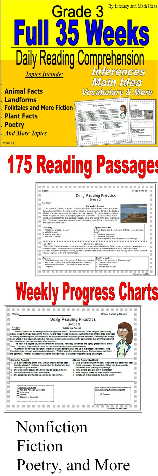 175 reading passages are included.  Nonfiction, fiction, animals, plant facts, history, poetry and more are included.  Comprehension skills include inferences, cause and effect, character analysis, vocabulary, literary devices, details, main idea, and more skills.  A weekly progress chart and answer keys are included.