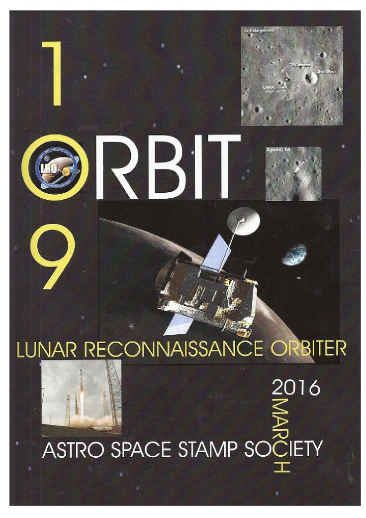 Orbit issue 109 preview (March 2016)  ORBIT is the official quarterly publication of The Astro Space Stamp Society, full of illustrations and informative space stamp and space cover articles, postal auctions, space news, and a new issues guide.