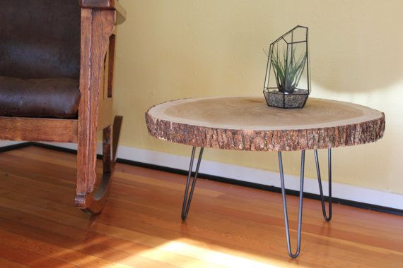 Wood Slab Table Wood Side Table Mid Century by urbanmillworks