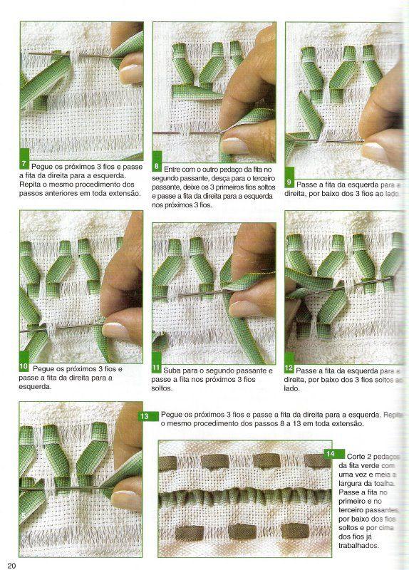 Lili Fazendo Arte: Passo a Passo Bordado de Fitas: Toalhas em Tons de Verde