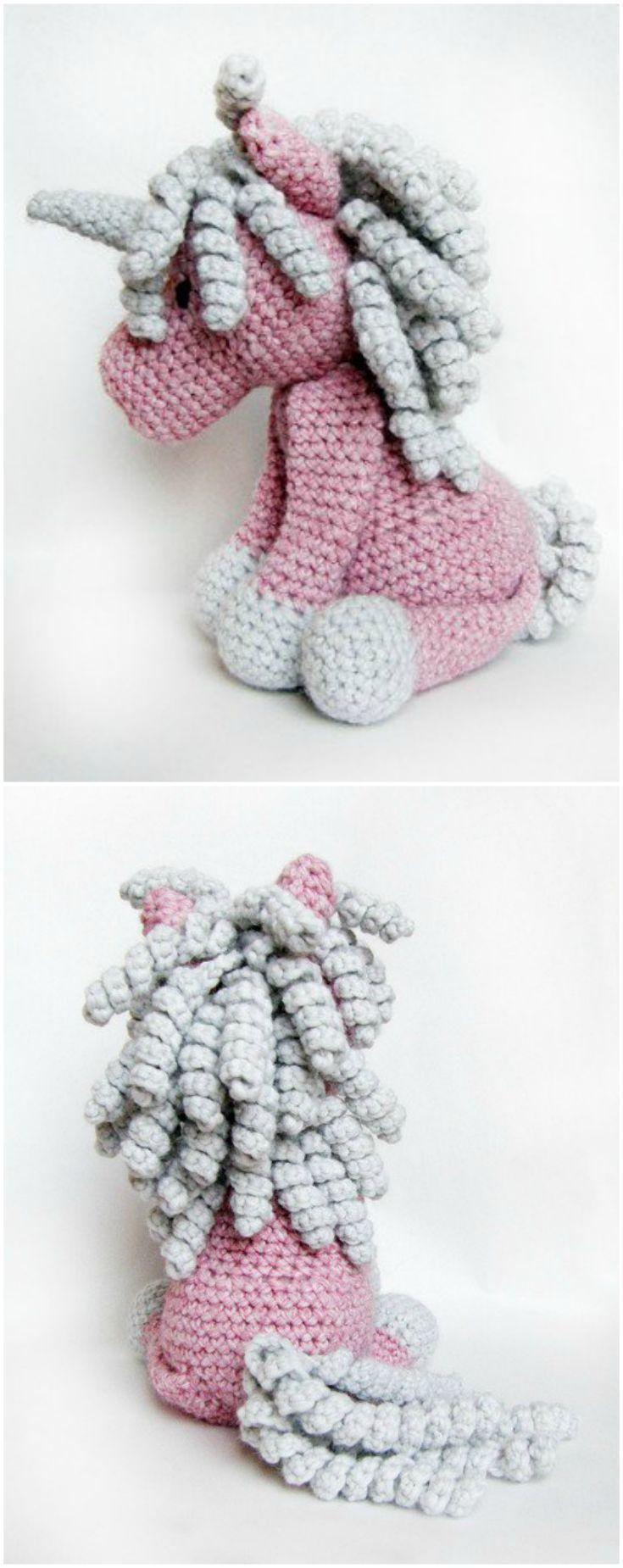 Häkelanleitung für ein kuscheliges Einhorn mit Ringellocken, Amigurumi Häkeltiere / crochet ebook for a magic unicorn, amigurumi made by Froschprinzessin via http://DaWanda.com