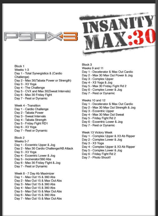 P90x3 Insanity Hybrid schedule