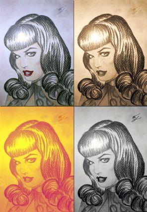 Betty Page: collage realizzato accostando il ritratto a matita di Betty Page (in alto a sinistra) ad alcune sue versioni modificate con Photoshop.