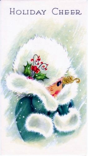 Vintage Christmas Card Girl Fur Trimmed Coat Mid-Century Unused with Envelope | eBay