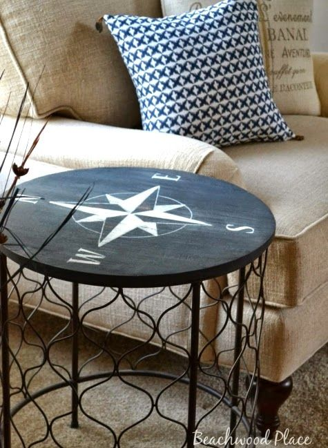 nautical furniture ideas. i like using the nautical compass rose as a painting idea for variety of furniture ideas