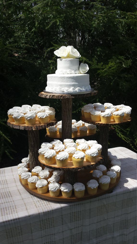 Rustic Cupcake Stand Log Tree Cake Wedding Wood In 2018 Ashley S