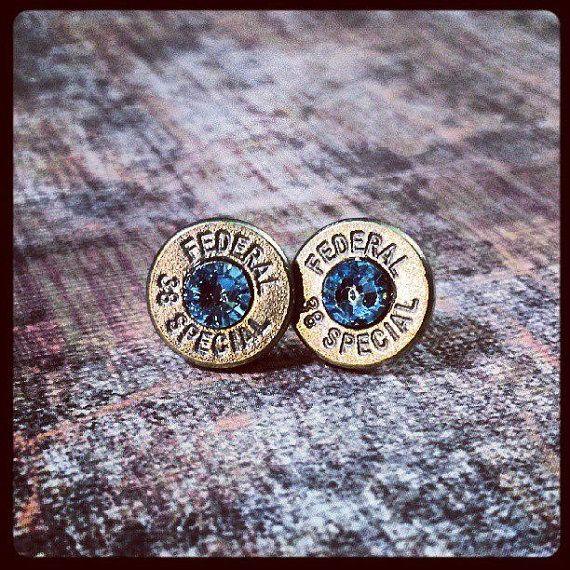 Love these & my .38 revolver. <3   Bullet Stud Earrings Brass and Light Blue by GunpowderAndGlitz, $20.00