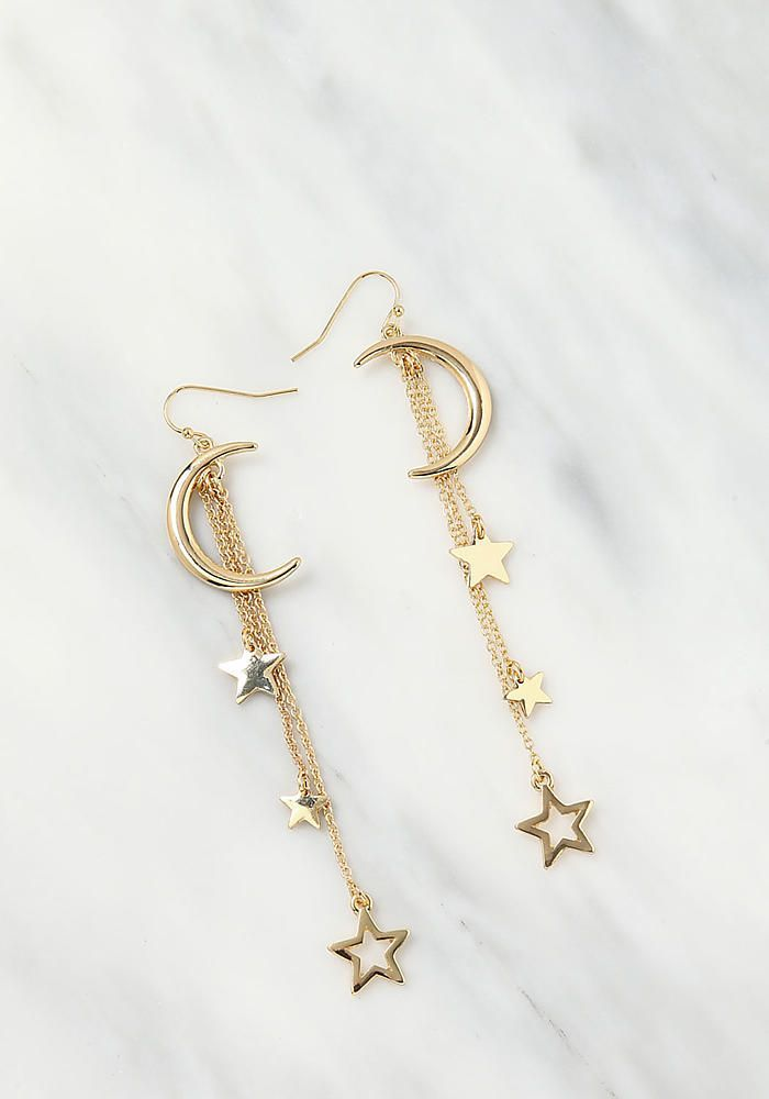 Amazing Junior Clothing | Gold Moon & Star Dangle Earrings | Loveculture.com