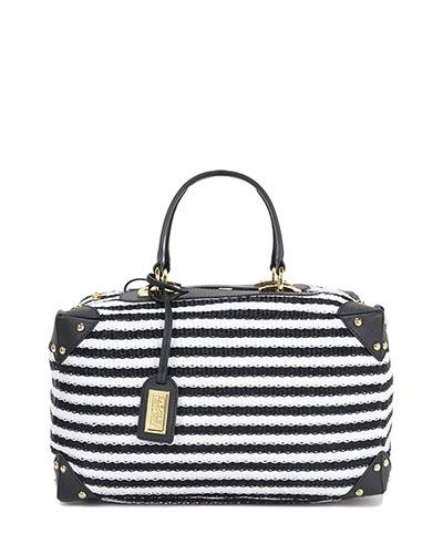 Clio Striped Straw & Leather Handbag - $395.00