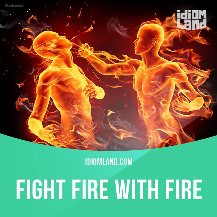 """""""Fight fire with fire"""" means """"to use the same methods against your opponent as they are using against you"""". Example: Our competitors have started to spend a lot of money on advertising so I think we should fight fire with fire and do the same. Get..."""