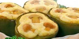 Зелёный перец, фаршированный картофелем