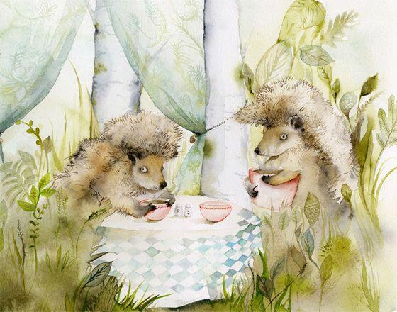 Hedgehog art - Forest Cafe- Woodland, Hedgehog Archival watercolor Large print by amberalexander on Etsy https://www.etsy.com/listing/74419523/hedgehog-art-forest-cafe-woodland