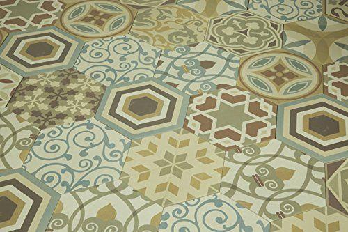 Leuke mix van zeshoekige decor tegels in verschillende kleure: hexagon patchwork mix